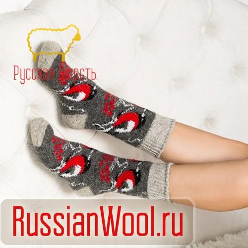 Носки шерстяные женские Снегири серые