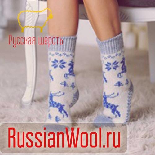Носки шерстяные женские Олени синие
