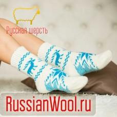 Носки шерстяные женские Лось белые