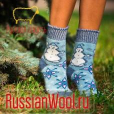 Носки шерстяные женские Снеговик-1