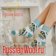Носки шерстяные женские Синицы белые